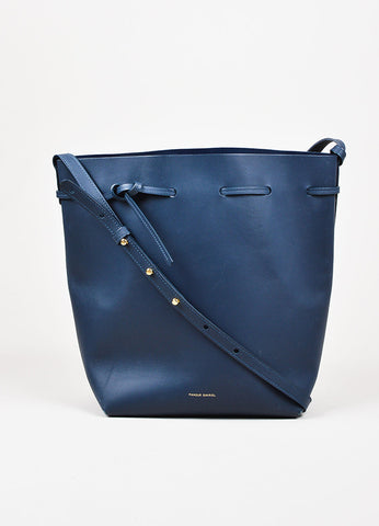 "Mansur Gavriel ""Large Bucket Bag"" Navy Blue Smooth Leather Shoulder Bag Frontview"
