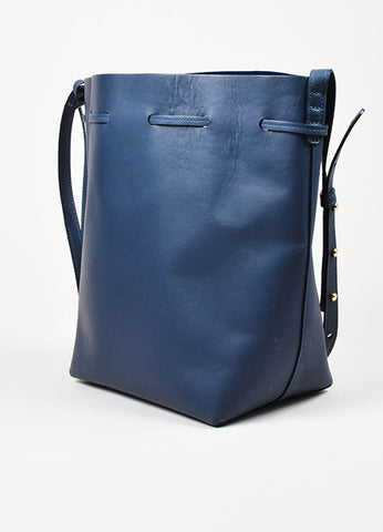 "Mansur Gavriel ""Large Bucket Bag"" Navy Blue Smooth Leather Shoulder Bag sideview"