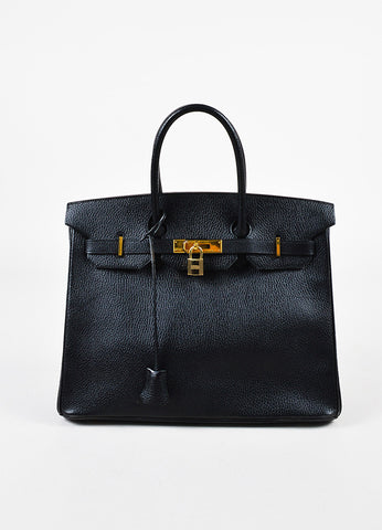 Hermes Black Evergrain Leather GHW 'Birkin 35' Bag Frontview