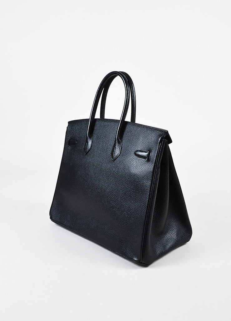Hermes Black Evergrain Leather GHW 'Birkin 35' Bag Sideview