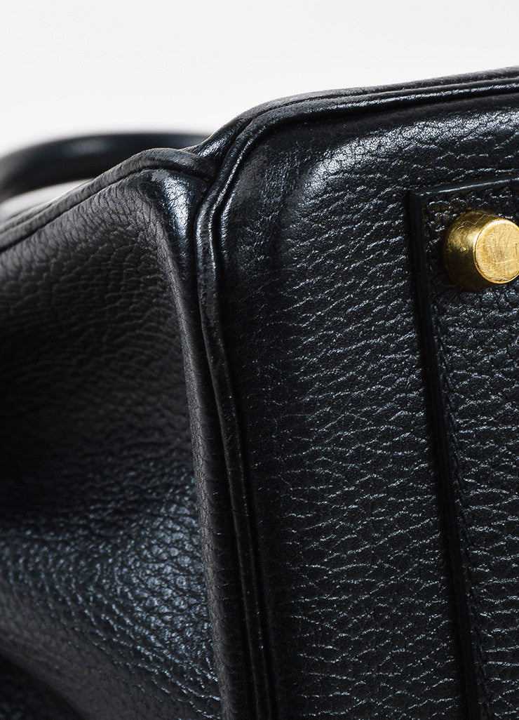 Hermes Black Evergrain Leather GHW 'Birkin 35' Bag Detail