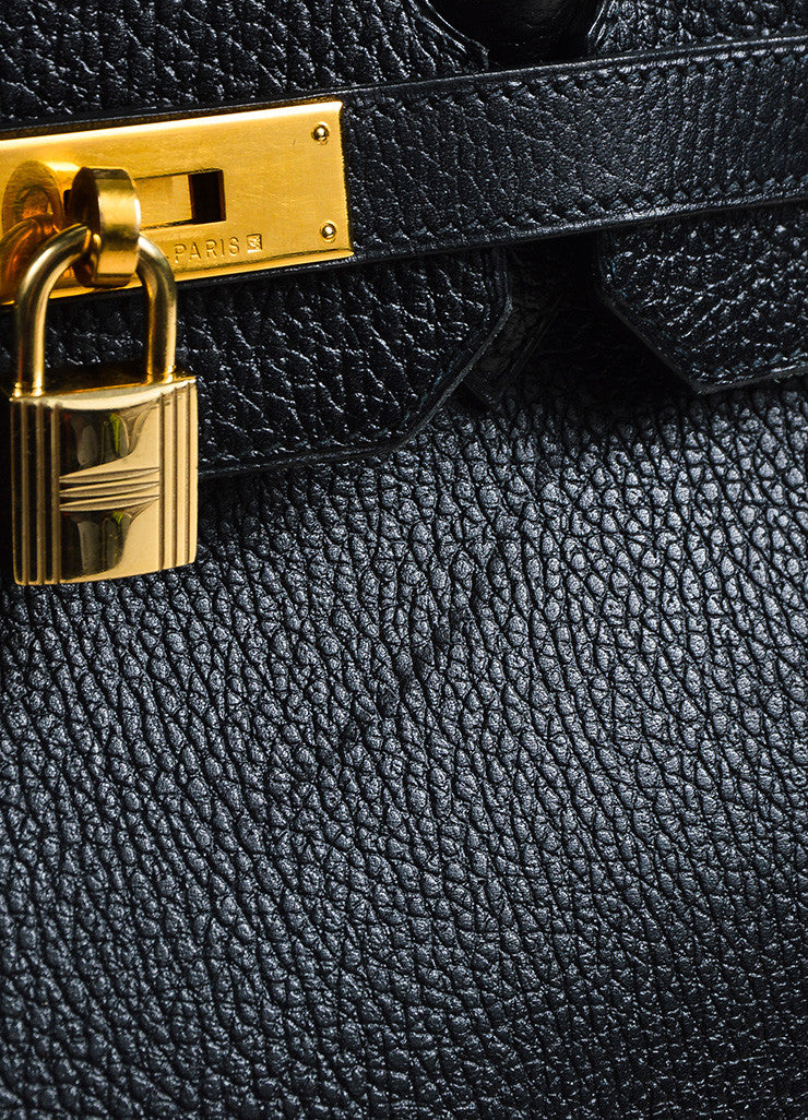 Hermes Black Evergrain Leather GHW 'Birkin 35' Bag Detail 3