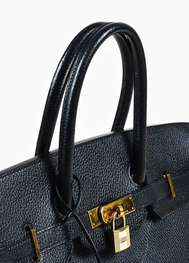 Hermes Black Evergrain Leather GHW 'Birkin 35' Bag Detail 2