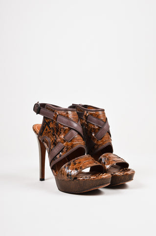 Lanvin Brown Python Leather Open Toe Strappy Gunmetal Heeled Sandals front