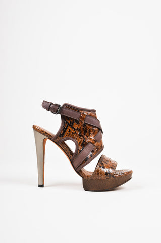 Lanvin Brown Python Leather Open Toe Strappy Gunmetal Heeled Sandals side