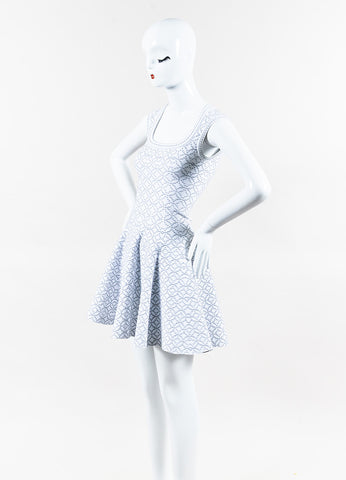 Alaia White Silver Metallic Knit Dot Pattern Square Neck Dress Side