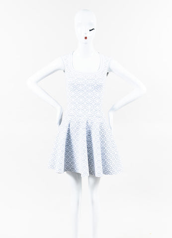 Alaia White Silver Metallic Knit Dot Pattern Square Neck Dress Front