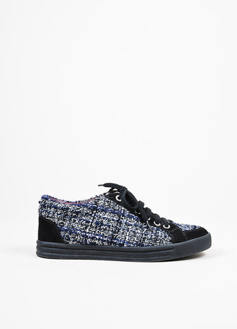 Chanel Black, Navy, and White Tweed Suede Trim Pearl Accent Lace Up Sneakers