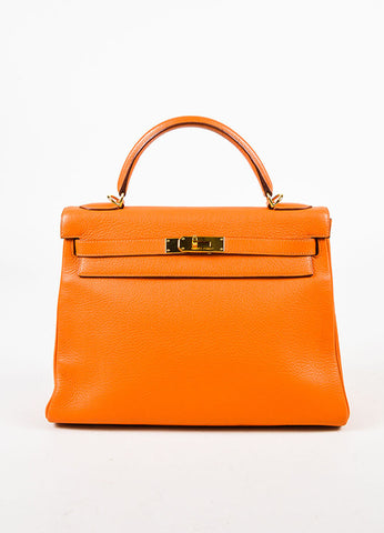 "Hermes Orange and Gold Toned 'Clemence' Leather ""Kelly"" 'Retourne' 32cm Bag Frontview"