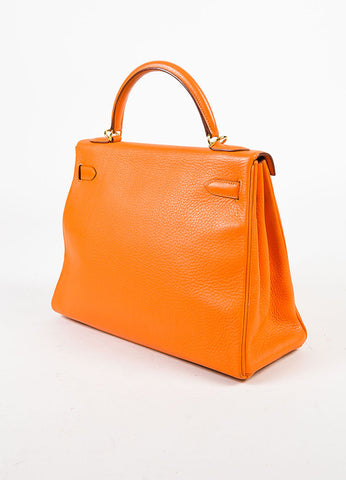 "Hermes Orange and Gold Toned 'Clemence' Leather ""Kelly"" 'Retourne' 32cm Bag Sideview"