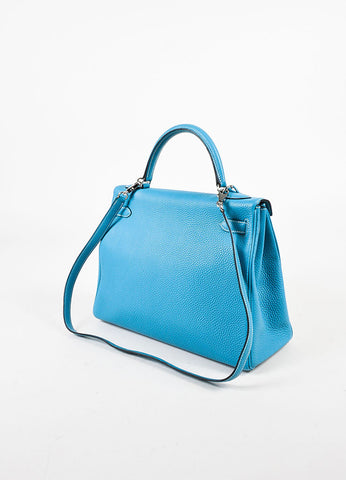 "Hermes ""Blue Jean"" and Silver Toned 'Clemence' Leather ""Kelly"" 'Retourne' 32cm Bag Sideview"