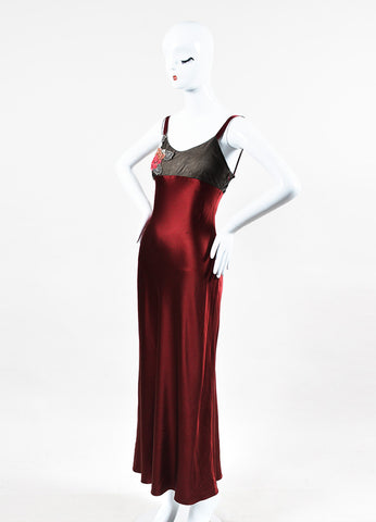 "Ralph Lauren Purple Label Black and Red Silk Beaded ""Lonnie Eve"" Dress  Sideview"
