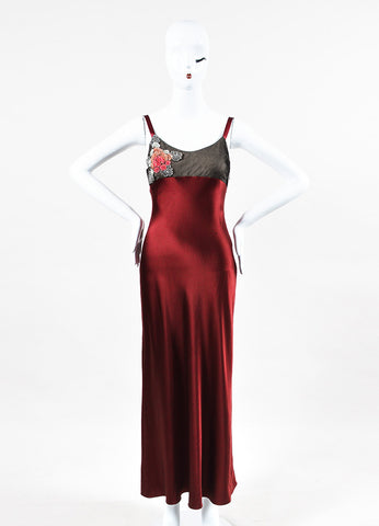 "Ralph Lauren Purple Label Black and Red Silk Beaded ""Lonnie Eve"" Dress  Frontview"