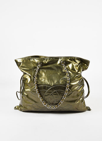 "Chanel Olive Green Patent Leather Silver Tone Chain ""Bon Bon"" Tote Bag Front"