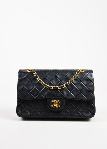 "Chanel Black Quilted Leather GHW ""Classic Medium Double Flap"" Shoulder Bag"