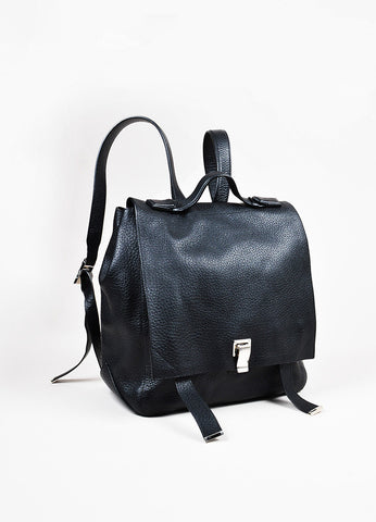 "Proenza Schouler Black Pebbled Leather SHW ""Courier Backpack"" Bag Sideview"