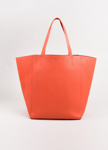 "Celine Coral Textured Leather ""Cabas Phantom"" Tote Bag Frontview"
