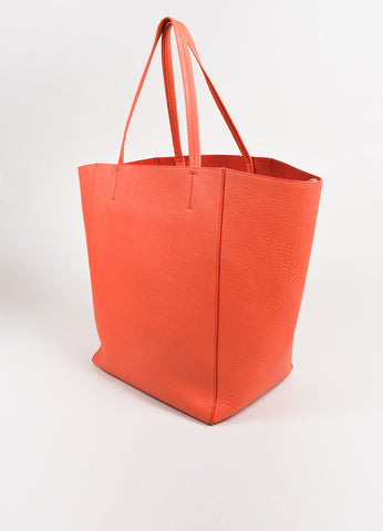 "Celine Coral Textured Leather ""Cabas Phantom"" Tote Bag Sideview"