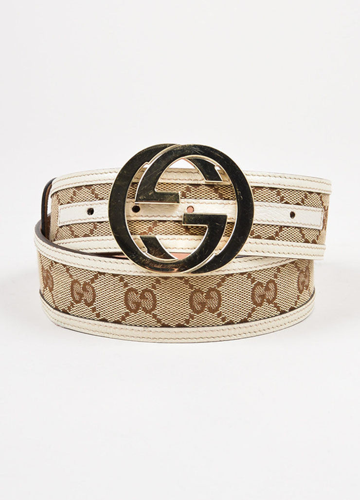 Gucci Brown Cream Canvas Leather Trim Monogram 'GG' Buckle Belt Front