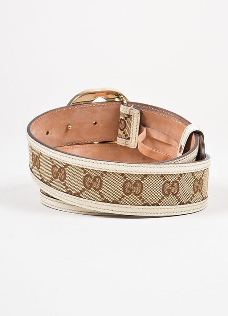 Gucci Brown Cream Canvas Leather Trim Monogram 'GG' Buckle Belt Back