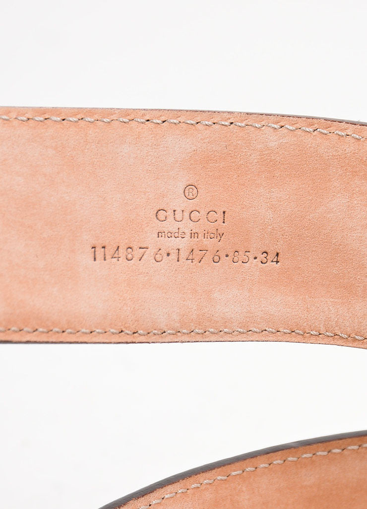 Gucci Brown Cream Canvas Leather Trim Monogram 'GG' Buckle Belt Detail