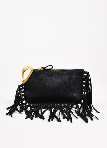"Black and Gold Toned Leather Fringe and Koi Fish ""Gryphon"" Bag Frontview"
