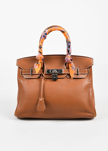 "Hermes ""Gold"" Brown Clemence Grained Leather ""Birkin"" 30cm Bag & ""Twilly"" Scarf Frontview"