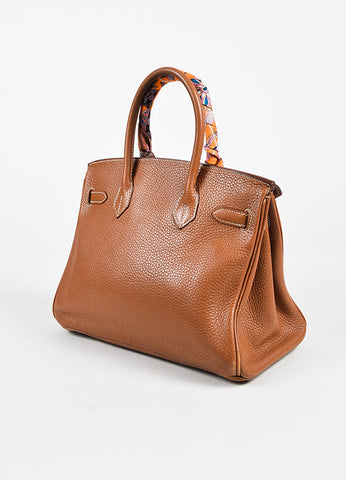 "Hermes ""Gold"" Brown Clemence Grained Leather ""Birkin"" 30cm Bag & ""Twilly"" Scarf Sideview"