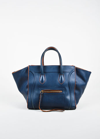"Celine Navy Blue and Orange Suede and Leather ""Phantom Luggage"" Winged Tote Bag Frontview"
