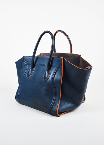 "Celine Navy Blue and Orange Suede and Leather ""Phantom Luggage"" Winged Tote Bag Sideview"