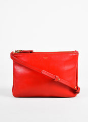 "Celine Red Leather Gold Toned Zip ""Small Trio"" Crossbody Bag Frontview"