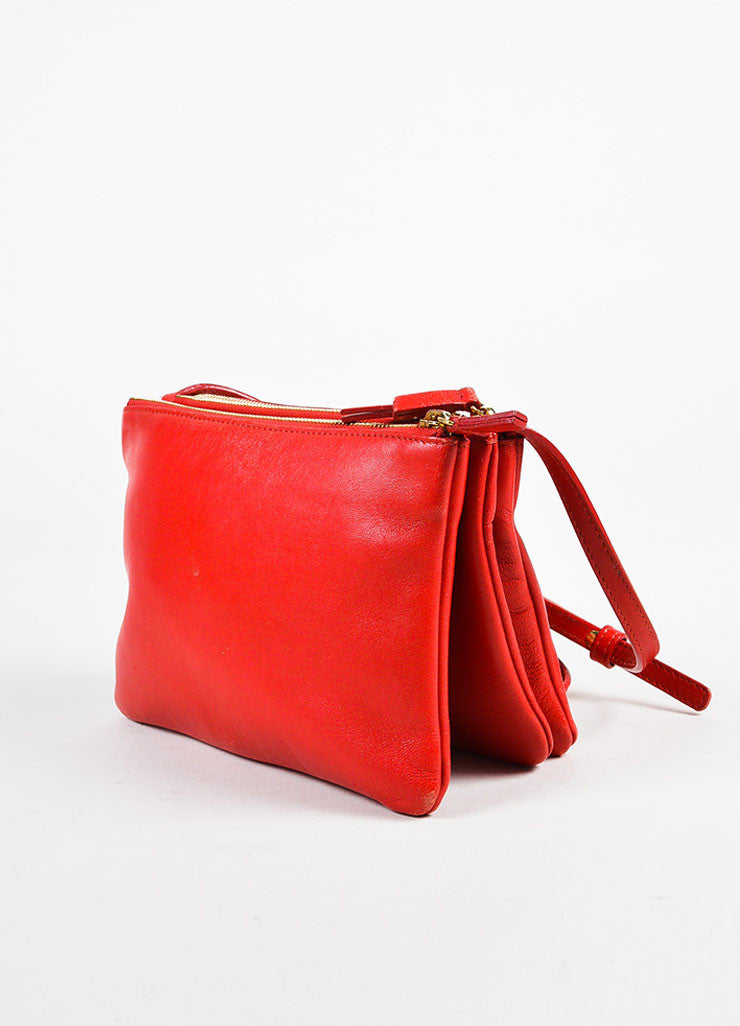 "Celine Red Leather Gold Toned Zip ""Small Trio"" Crossbody Bag Sideview"