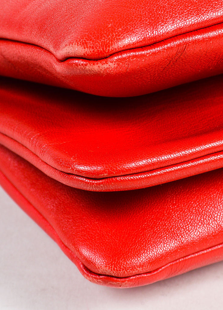 "Celine Red Leather Gold Toned Zip ""Small Trio"" Crossbody Bag Detail"