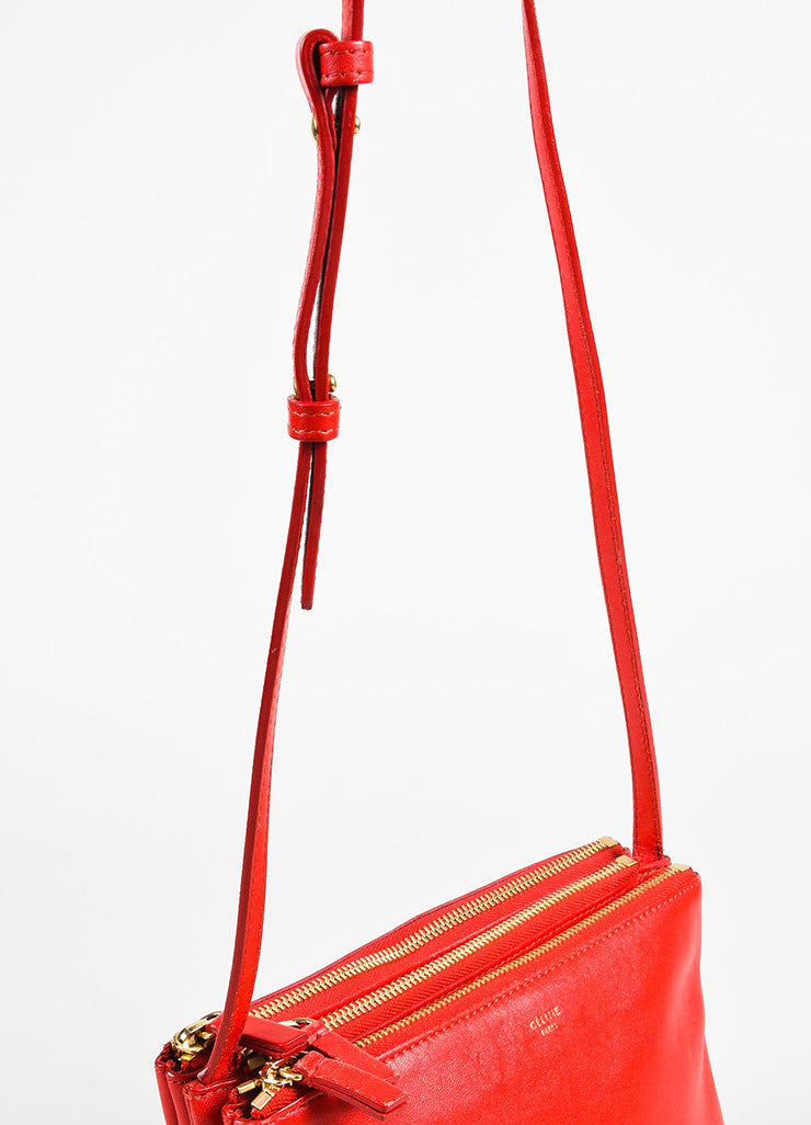 "Celine Red Leather Gold Toned Zip ""Small Trio"" Crossbody Bag Detail 2"