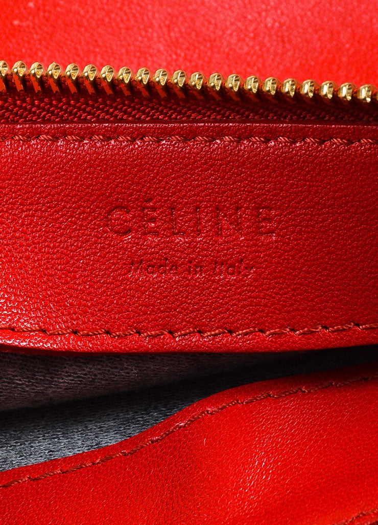 "Celine Red Leather Gold Toned Zip ""Small Trio"" Crossbody Bag brand"