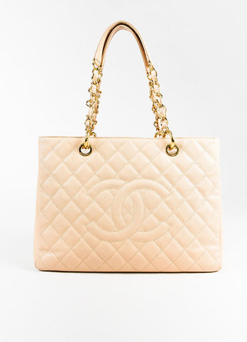 "Chanel Beige Caviar Leather Quilted Gold Toned Chain ""Grand Shopping Tote"" Bag Frontview"