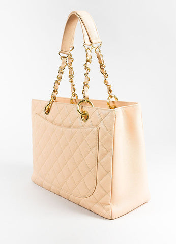 "Chanel Beige Caviar Leather Quilted Gold Toned Chain ""Grand Shopping Tote"" Bag Sideview"