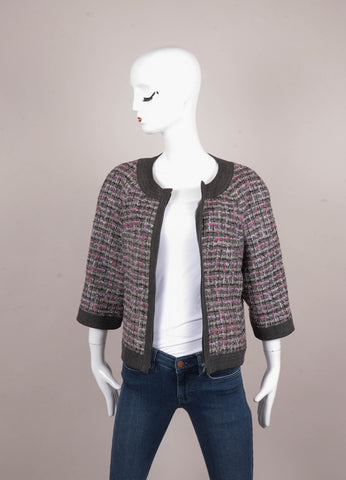 Grey, Black, and Pink Tweed Denim Trim Zip Up Three Quarter Length Sleeve Jacket