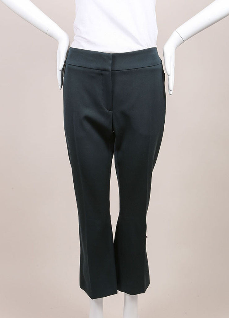 "Alexander McQueen New With Tags Green Wool Cropped ""Grain de Poudre"" Trousers Frontview"