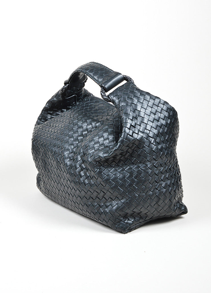 Bottega Veneta Sloane Intrecciato Black Woven Nappa Leather Hobo Bag Sideview