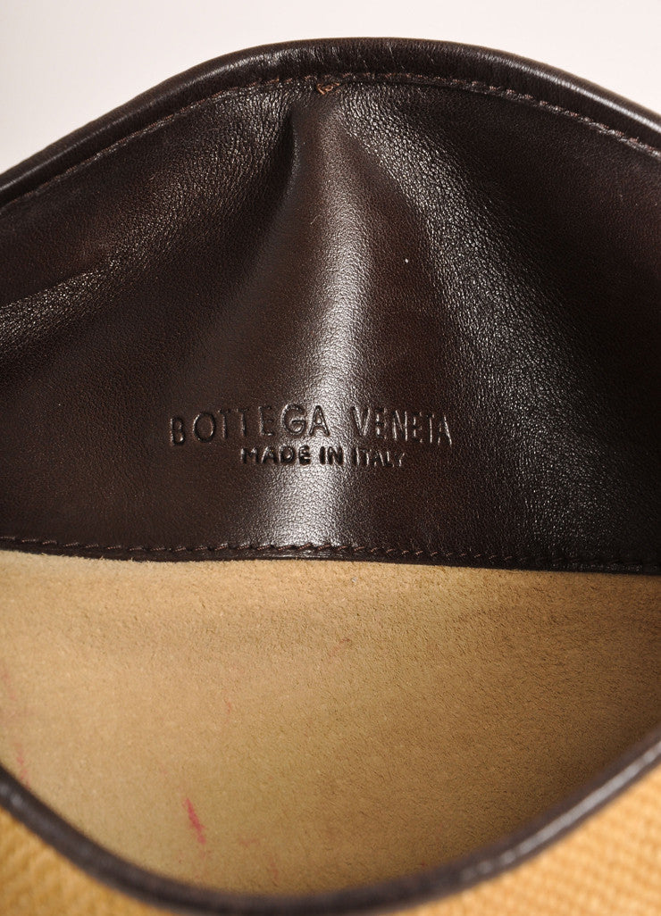 Bottega Veneta Tan and Brown Straw and Leather Woven Wristlet Clutch Bag Brand