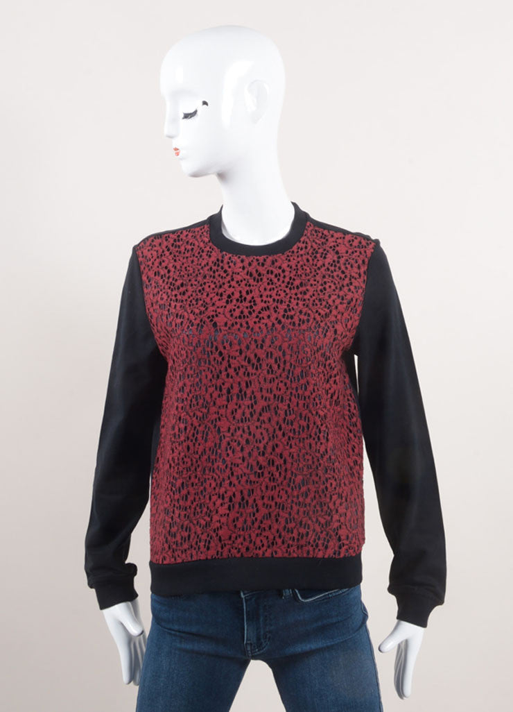 Carven Red and Black Lace Front Long Sleeve Pullover Top Frontview