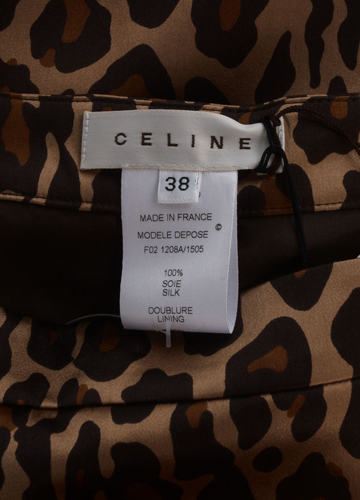 Celine New With Tags Gold, Black, and Brown Silk Leopard Print Pleated Skirt Brand