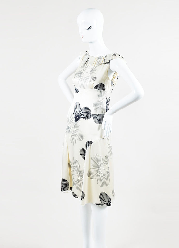 Chanel Cream and Black Silk Printed 'CC' Ruffle Sleeveless Dress Sideview