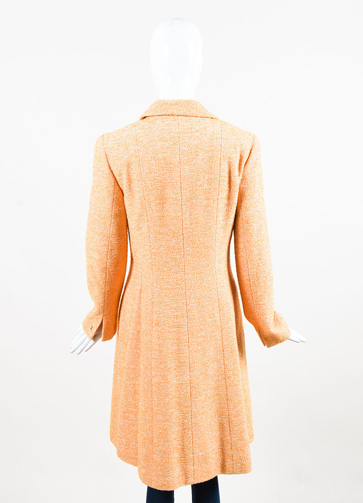 Chanel Orange Textured Metallic Notch Collar Long Button Coat Backview