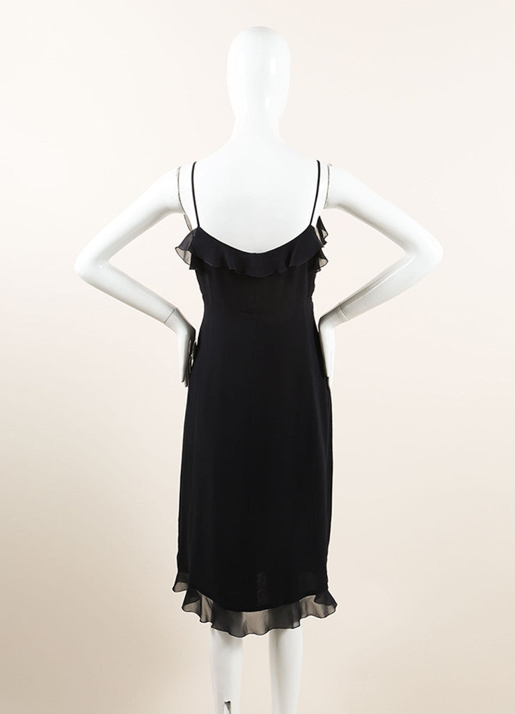 Chanel Black Silk Chiffon Ruffle Double Breasted Sleeveless Wrap Dress Backview