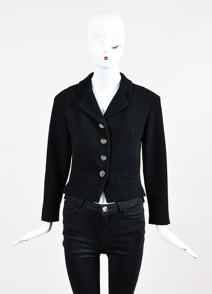 Black Chanel Notch Collar Wool Four Button Classic Short Jacket Frontview