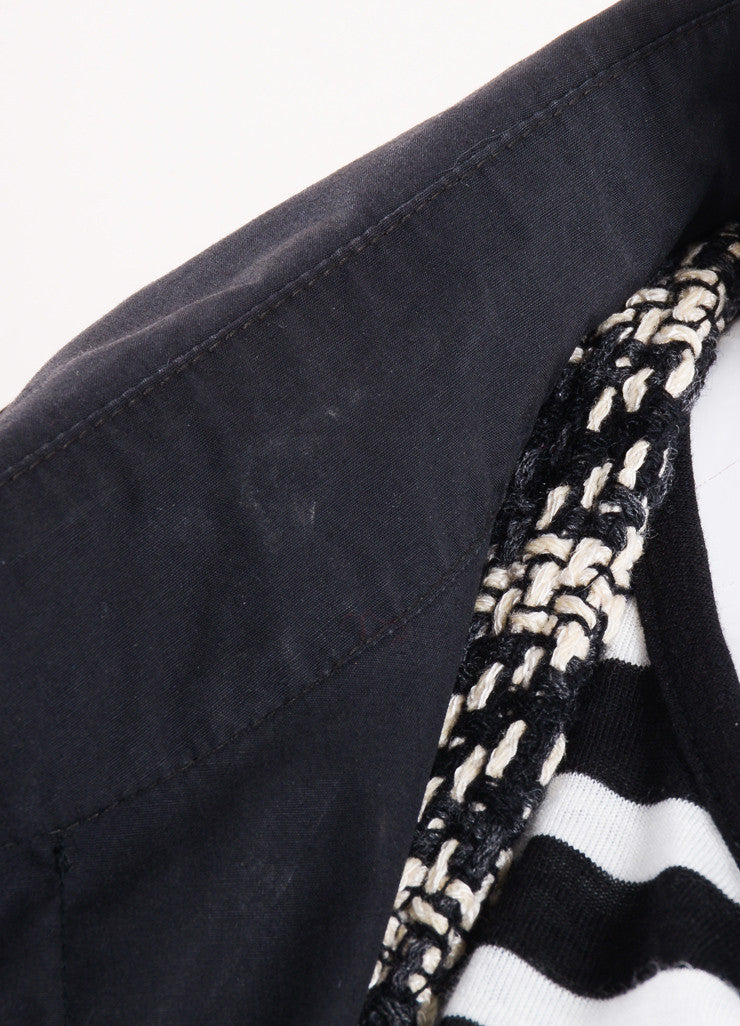 Chanel Black Pouch Pocket Lined Trench Coat Detail