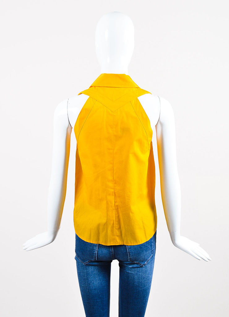 Yellow Chanel Cotton Sleeveless Button Up Shirt Backview