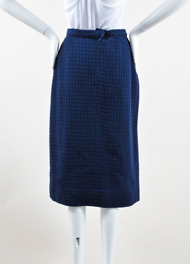 Chanel Navy Wool Tweed Midi Length Two Pleat Skirt Backview